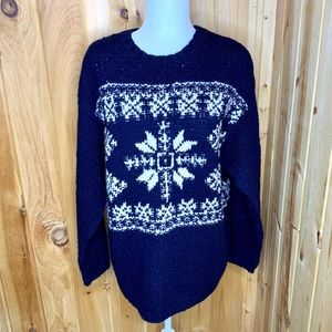 American Eagle navy/ white Nordic wool sweater S